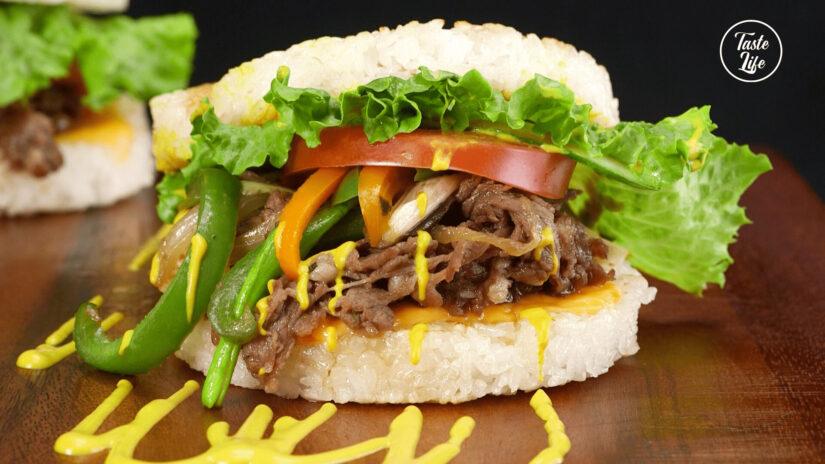 Philly Cheese Steak Rice Burger