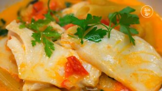 One-Pot Penne and Cod in Creamy Tomato Sauce