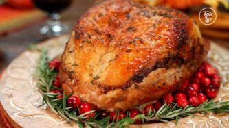 Roast Turkey in Cranberry Sauce with Seasoned Carrots