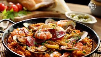 Easy Oven Baked Paella With Shellfish and Chorizo