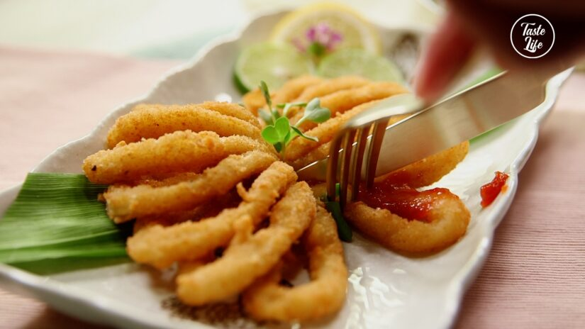 Crumbed Calamari Fans with Tzatziki Salsa In Cucumber Cup