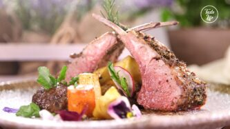 Herb Marinated French Rack of Lamb oven Roasted