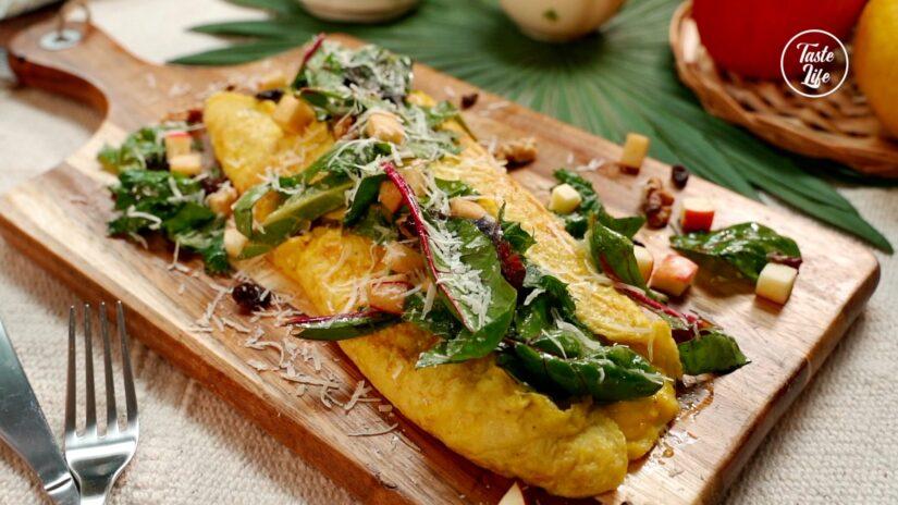 Avocado Omelette and Apple-Walnut Salad