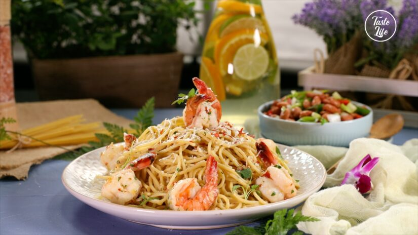 Prawn and Spaghetti in a White Wine Butter Sauce