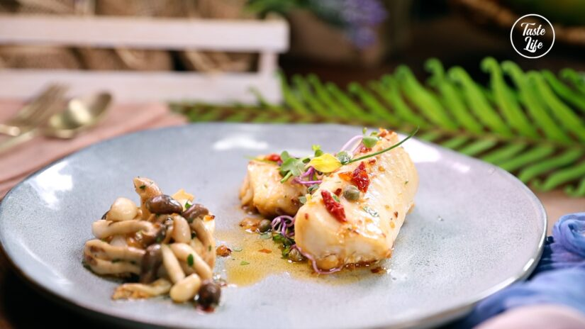 Cod Fish With Sun-Dried Tomatoes and Caper Sauce