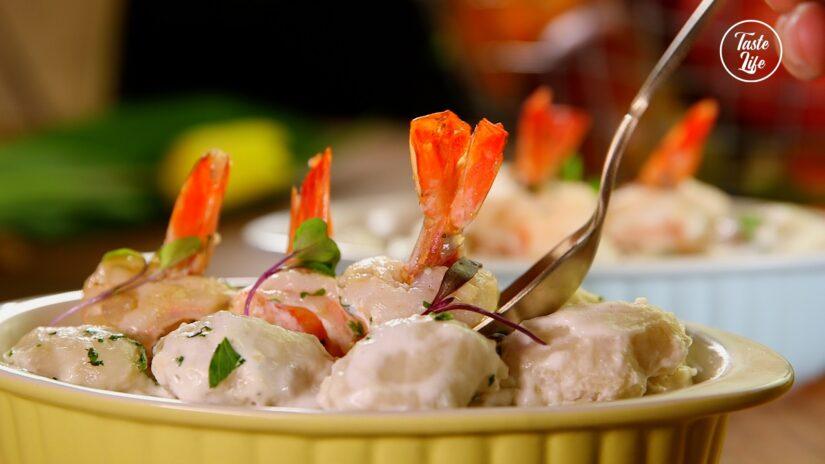 Shrimp With Gnocchi In Cream Sauce