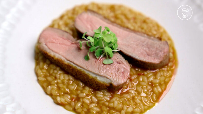 Asian Risotto With Salt Dry Duck Breast
