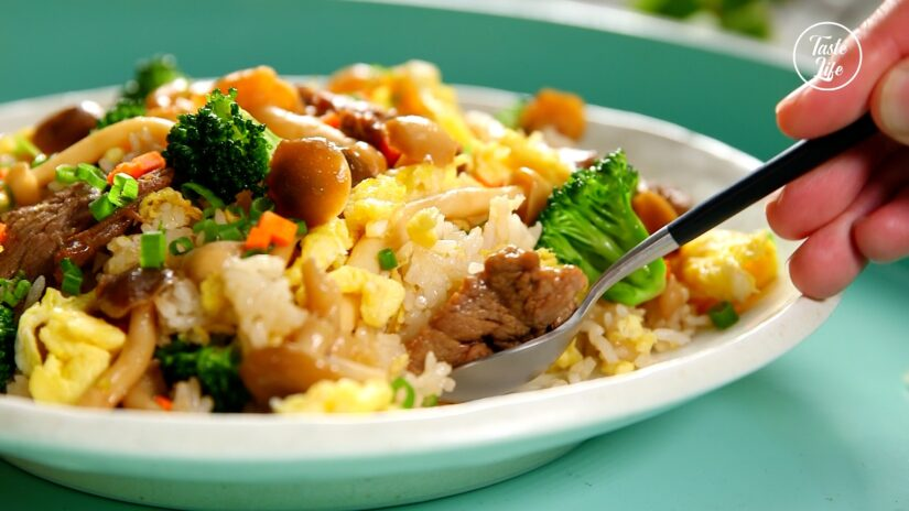 Fried Rice With Sweet Mushrooms