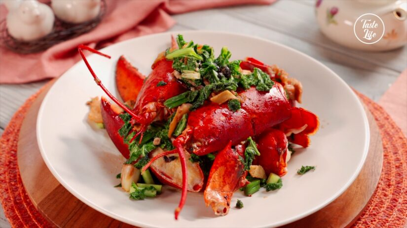 Cantonese-Style Lobster with Pork Belly and Kale