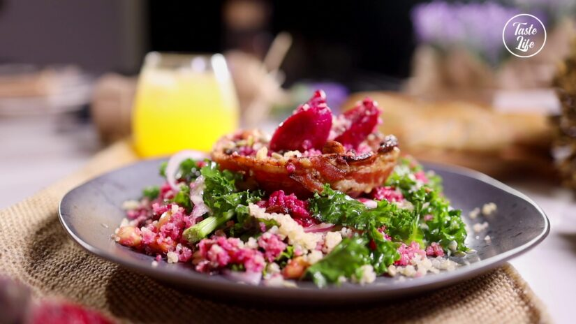 Kale Red Cactus Pear Quinoa Salad