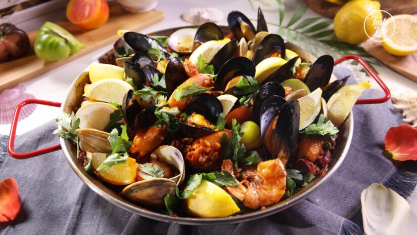 Paella: Seafood-and-Chicken with Chorizo