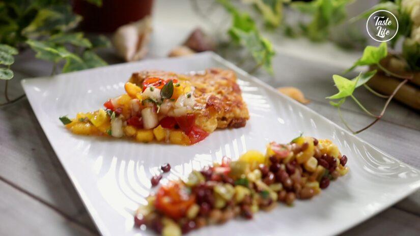 Cornmeal Crusted Halibut With Peach Salsa