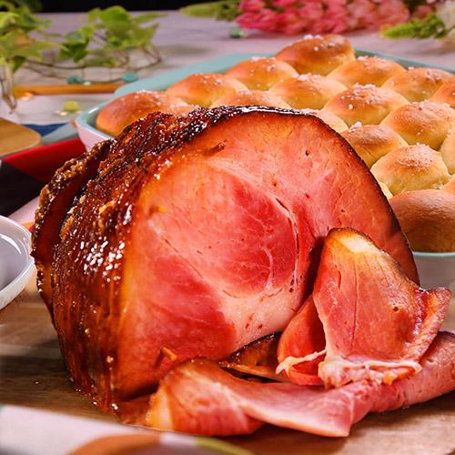 Honey Mustard Baked Ham With Homemade Dinner Rolls