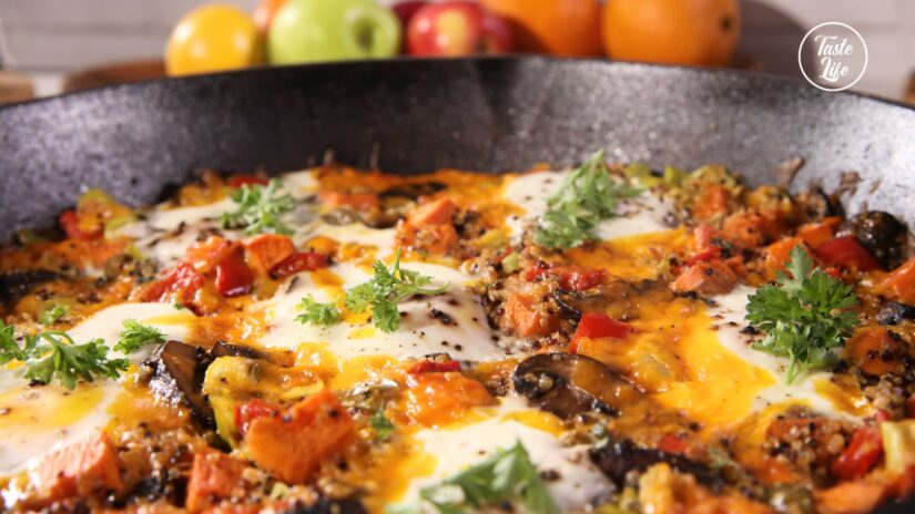 Quinoa and Sweet Potato Hash With Baked Eggs