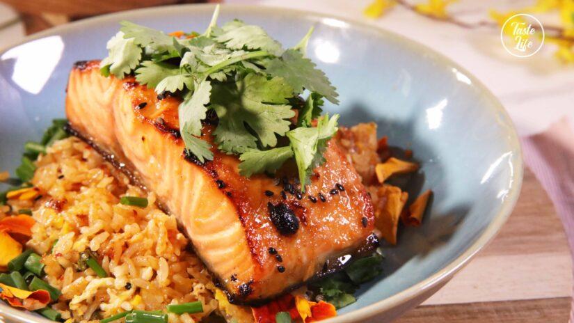 Spicy Miso Glazed Salmon With Kimchi Fried Rice
