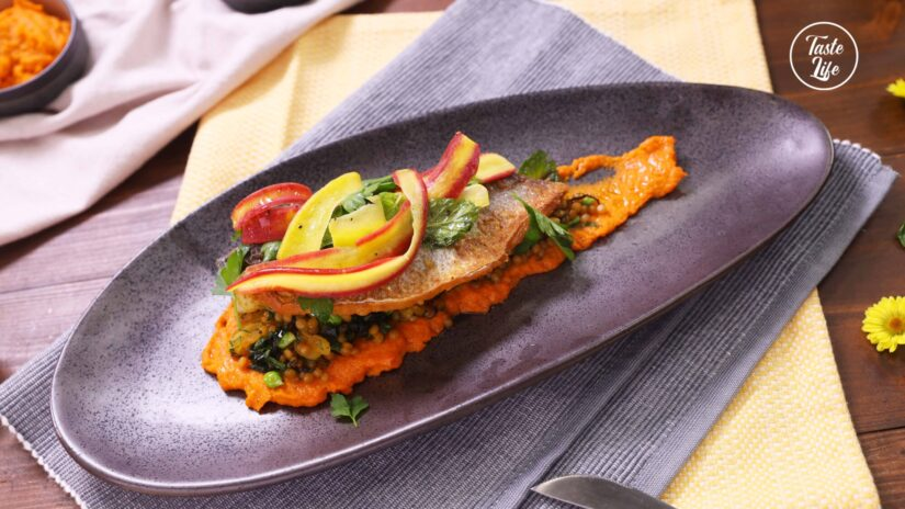 Sea Bass With Carrot Harissa