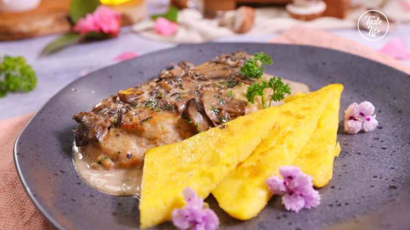 Chicken Marsala with Seared Polenta