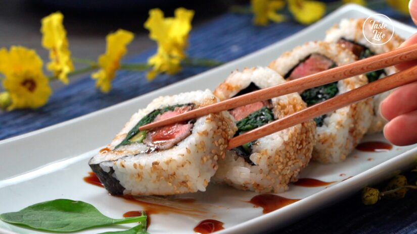 Beef and Cucumber Sushi