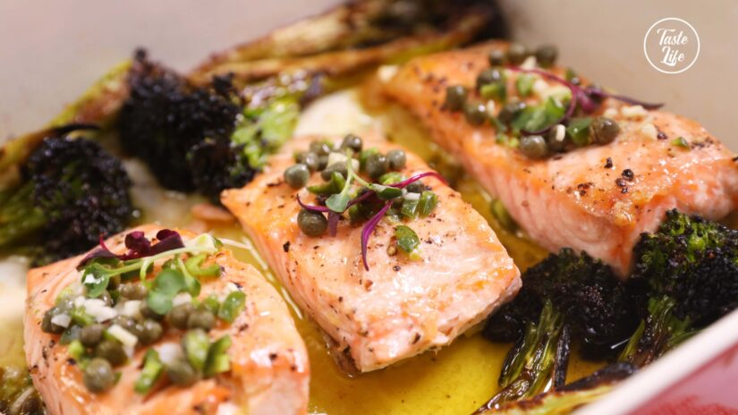 Roast Salmon and Broccolini With Spicy Caper Vinaigrette