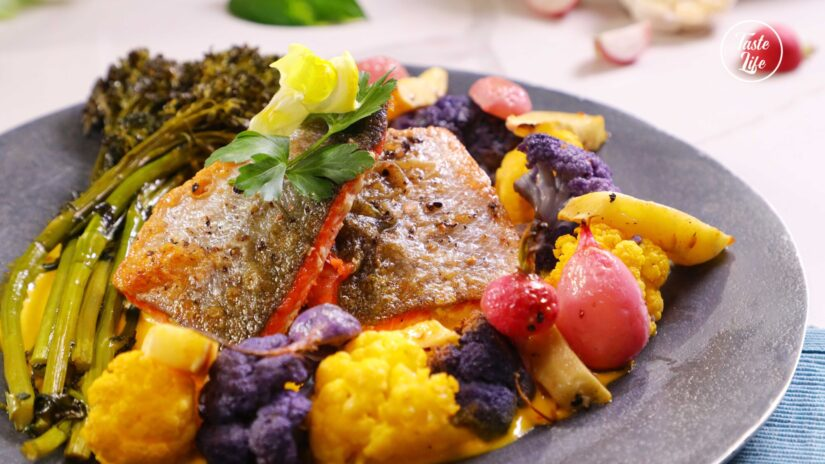 Seared Salmon With a Saffron Garlic Coulis and Roasted Vegetables