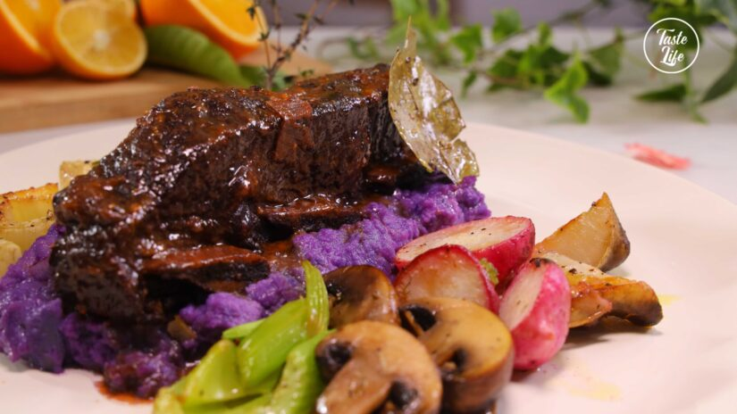 Braised Short Ribs With Caramelized Vegetables and Mashed Purple Potato