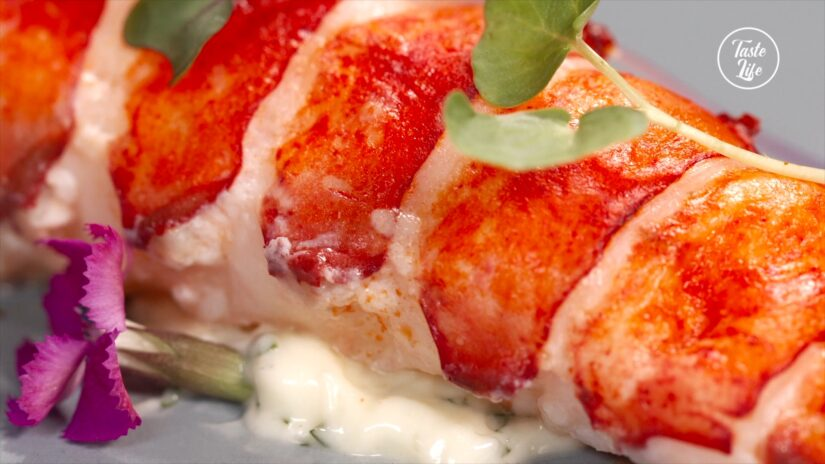 Butter-Poached Lobster Tails and White Asparagus Purée