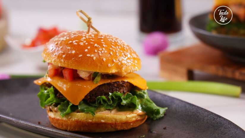 Mushroom Burger Delux With Tomato Salsa and Smashed Avocado