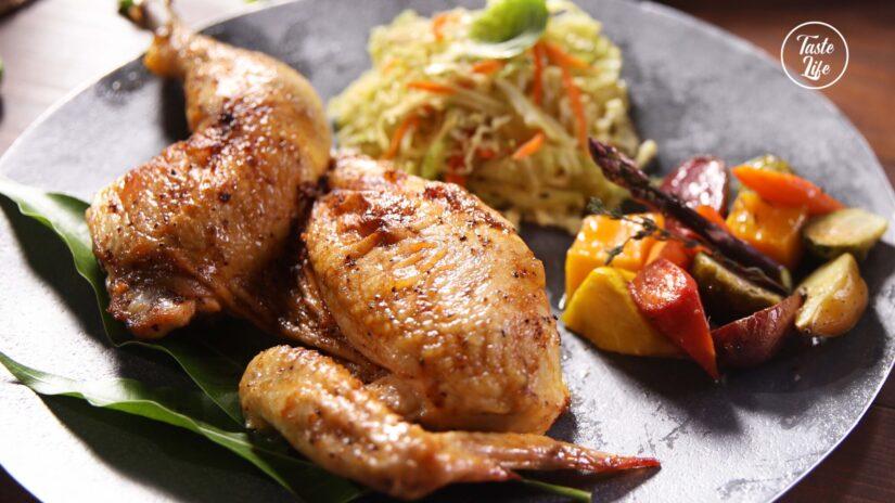Spatchcock Roast Chicken With Seasonal Vegetables