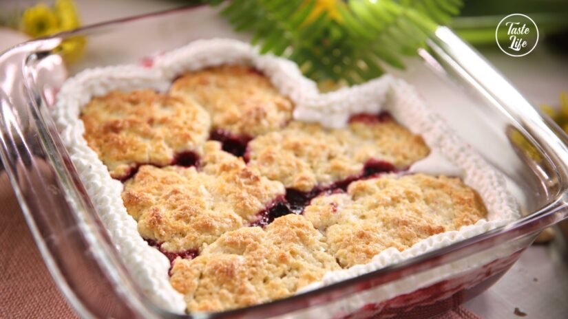 Mixed Berry Cobbler With Vanilla Whipped Cream