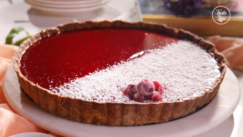 White Chocolate, Cranberry, and Gingerbread Tart