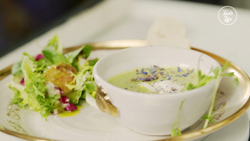 Green Pea Soup with Salad and Seared Scallops