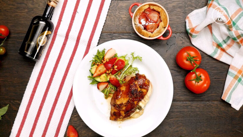 Chicken Caprese With Avocado Salad and Strawberry Puff Pastry