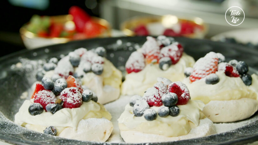 Pavlova With Whipped Cream and Berries