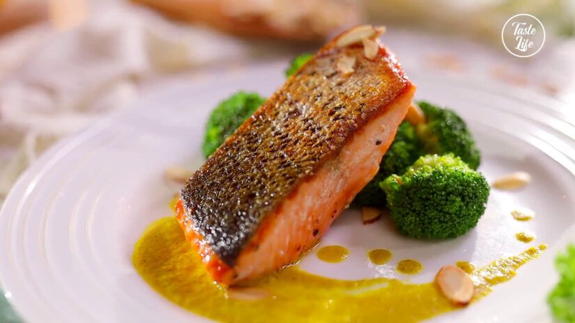 Seared Salmon with Bell Pepper Puree & Almonds